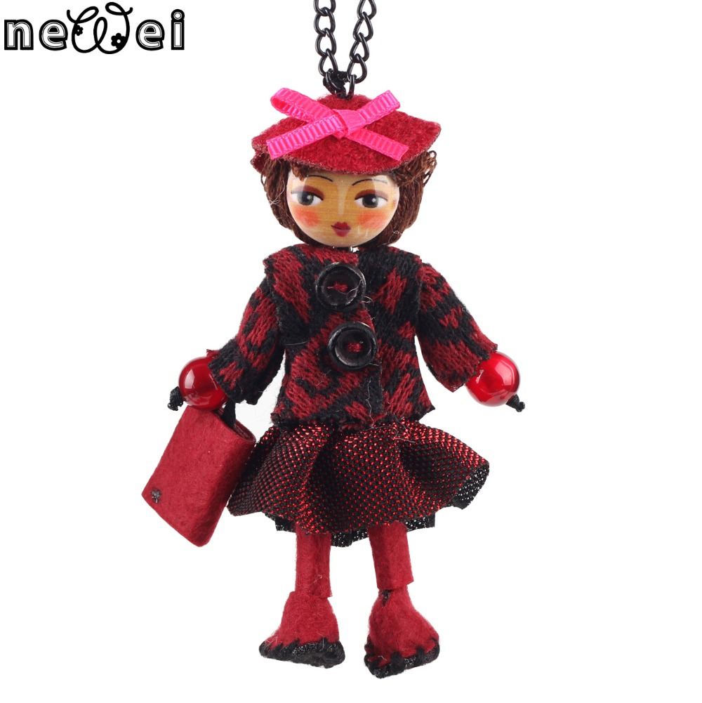 Bonsny Handmade Doll Necklace French Cloth Long Pendant 2017 New Spring Trendy Jewelry for Women Girl Charm Accessories