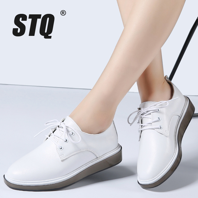 13f31bbf3cc US $36.59 |STQ 2019 Spring women oxford shoes flats white sneakers shoes  women genuine Leather lace up boat shoes moccasins loafers 8512-in Women's  ...