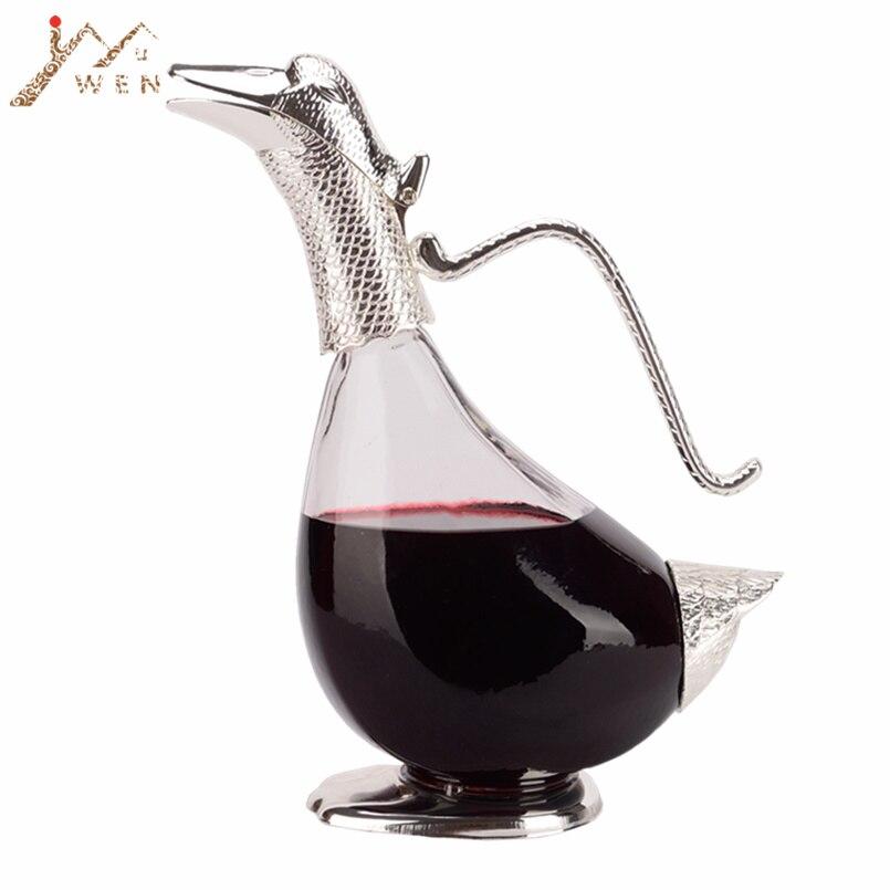 Originalità di design forma di anatra decanter finitura argento di vetro decanter, moderno, come regalo per la famiglia o con gli amici