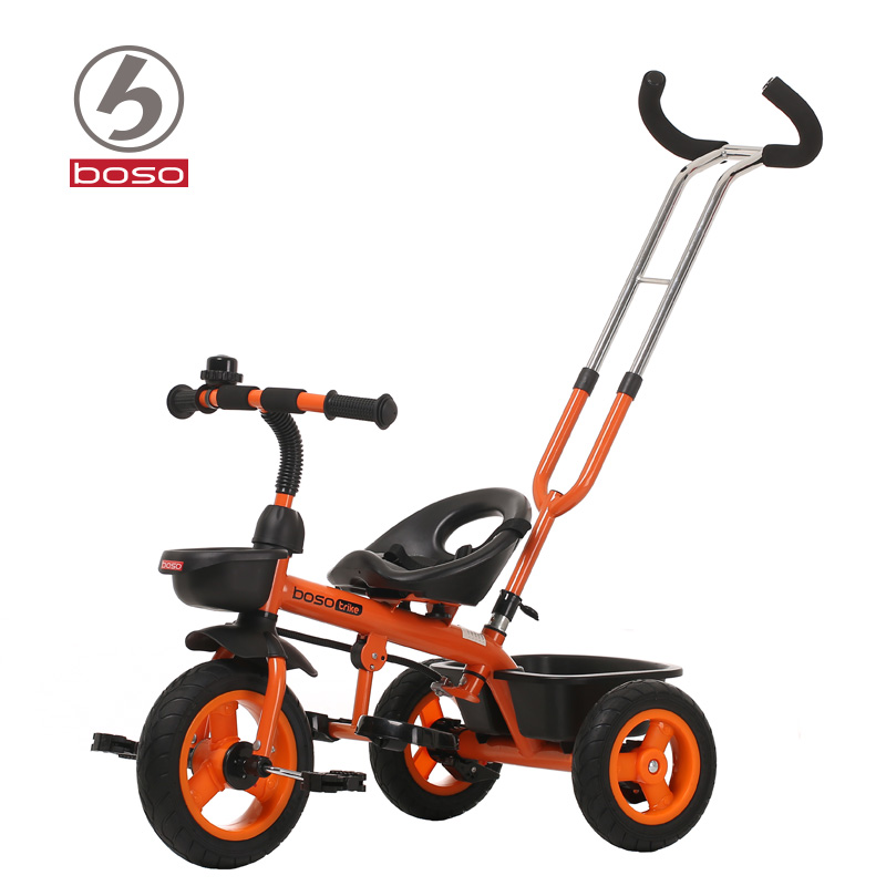 BOSO simplee child tricycle with adjustable back handlebar, practical baby bike child walker with steel frame boso child tricycle eva wheel for 8month 5years old baby steel and tpr frame baby stroller bike