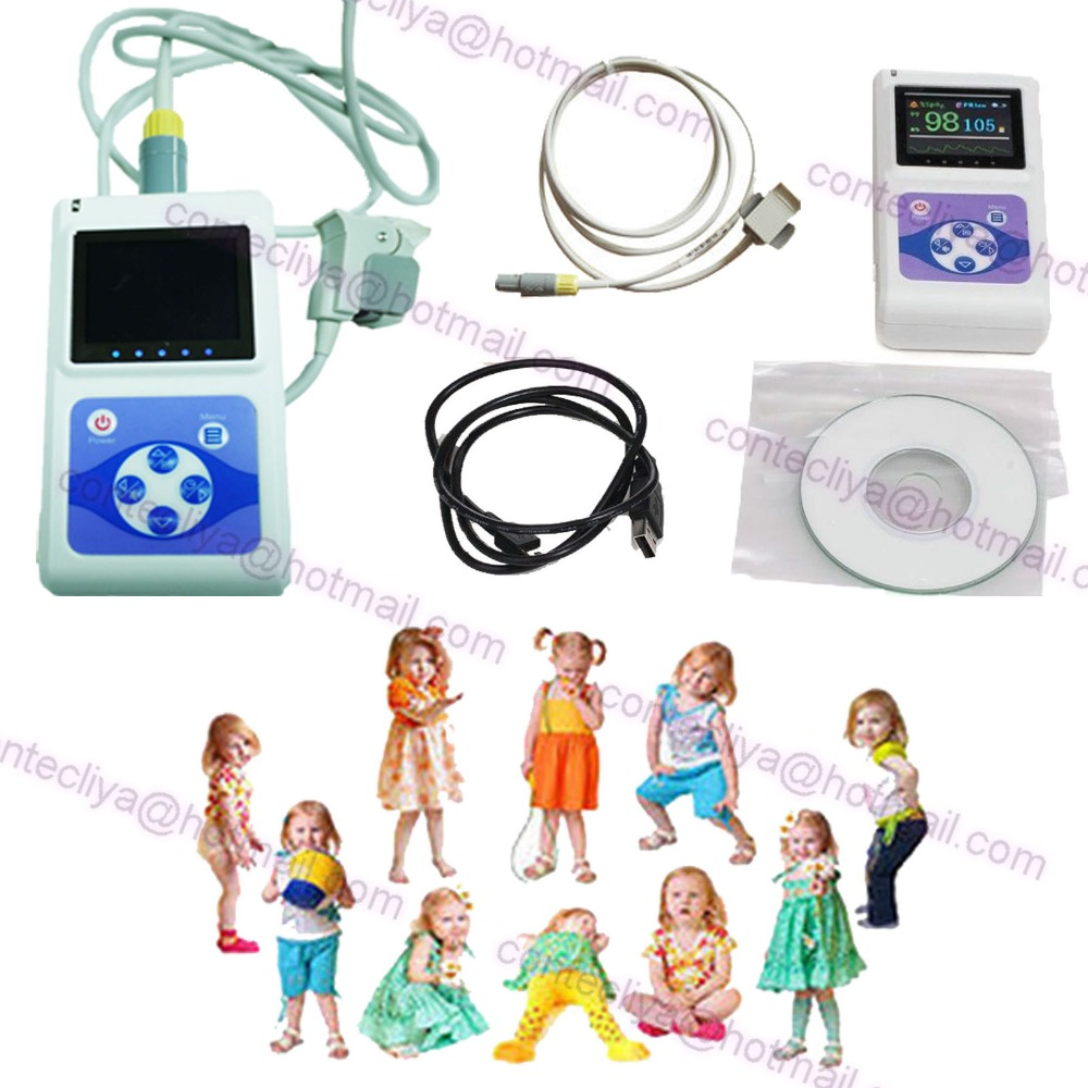 NEW FDA CE Handheld Pulse Oximeter Spo2,PR Monitor + Software CMS60D,Child Probe