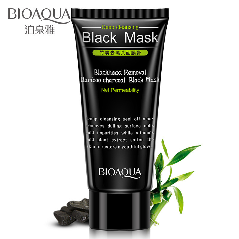 BIOAQUA Blackhead Removal Bamboo Charcoal Oil-control Black Mask Deep Cleansing Peel Off Nose Mask Shrink Pores Acne Treatment