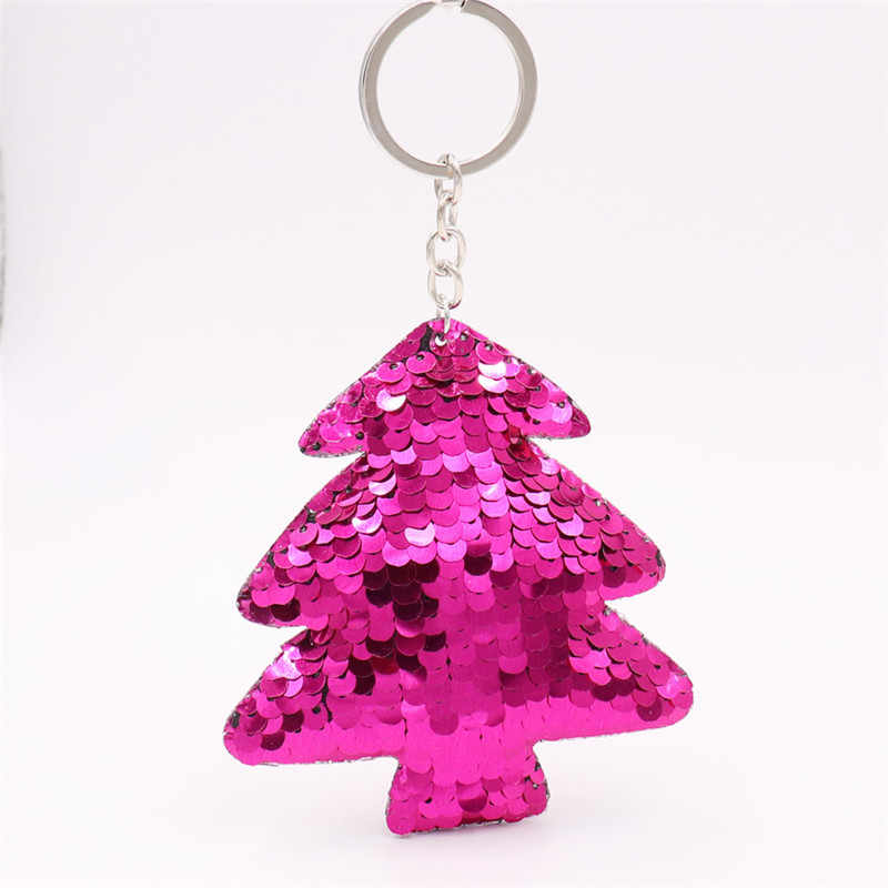 Sitaicery lindo llavero de árbol pompones con brillo lentejuelas llaveros regalos de Navidad para mujeres encantos bolso y accesorios para coche baratija