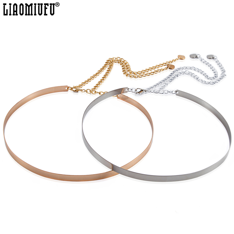 LIAOMIUFU Hot Full Metal Mirror Waist   Belt   Metallic Gold Plate Wide Obi Band With Chains   Belts   For Women Cintos Cinturon