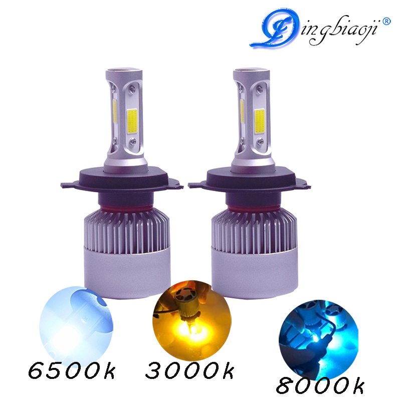 2X 9005 9006 H11 H4 H7 led H1 H3 H8 will the S2 H9 72w 8000lm 6500k 3000K 8000K car light bulb in one cob lumileds lamp