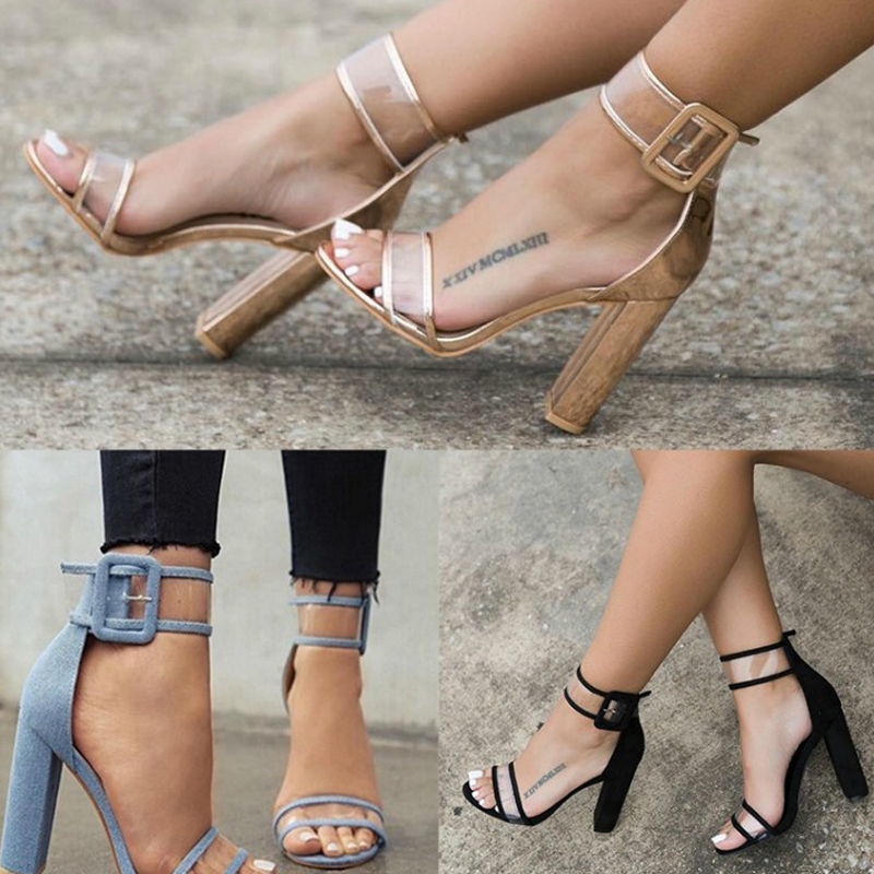 Woman Shoes 2017 Summer Sandals High Heel Ankle Strap Gladiator Sandals Heels FOOTWEAR FOR WOMEN Black Sandals Big Sizes 41 42  hot selling denim blue ankle strap buckle high heel sandals cut out thick heel gladiator sandals for women summer dress shoes