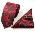 Mantieqingway Hombres Lazo del Negocio del Juego Delgado 7 cm Gravata Moda Floral de Seda del Poliester Corbata y Gemelos Conjunto Lazos para hombres