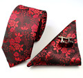 Mantieqingway Negócios Laço dos homens Set Fino 7 cm Gravata Moda Polyester Silk Floral Lenço Gravata Abotoaduras Conjunto de Laços para homens