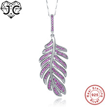 цена J.C for Women Girl Excellent Vintage Necklace Feather Design Ruby White Topaz Solid 925 Sterling Silver Pendant Fine Jewelry онлайн в 2017 году