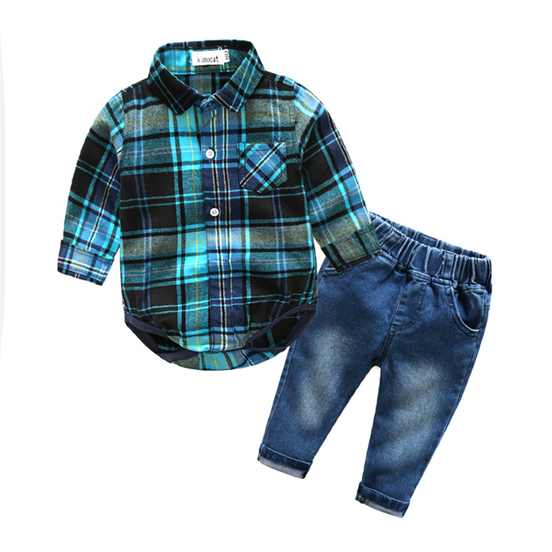 2018 Fashion Infant Baby Boy Clothes Sets Gentleman Blue Plaid Jumpsuit+Jeans Suit Long Sleeve Kid Boy Clothing Set Kids Clothes