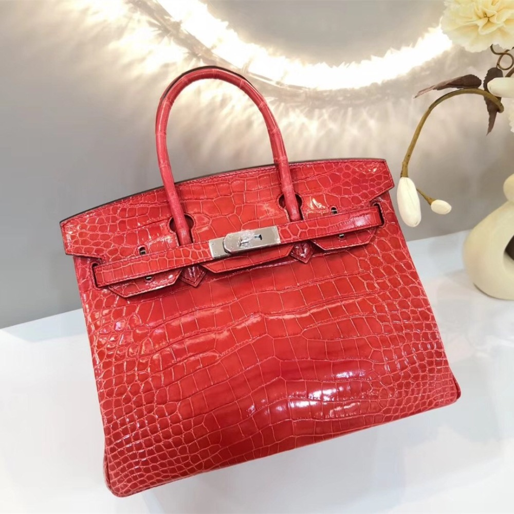 LGLOIV Top Quality real crocodile skin bags brikin 30 Women Female Crossbody Bag Brand Luxury Purses shoulder bags Designer lgloiv real crocodile luxury handbags women bags designer with logo satchel custom made 2018