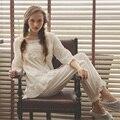 Otoño Las Mujeres de Moda Pijama Conjunto ropa de Dormir de Algodón Dulce Princesa de La Colmena Del Cordón Del Sueño de Manga Larga Salón Real Femenina Suave Pijama