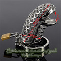 Tótem serpiente 85mm Male Chastity Device Cinturón Especial de Acero Inoxidable Manga del pene Productos de Juguetes Sexuales Cock Jaula de Metal Juego anillo