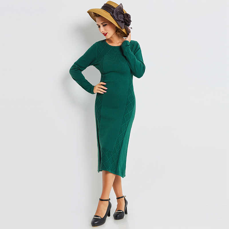 Sisjuly O Neck Long Sleeve Geometric Knitted Bodycon Pencil Dress Pullover  Green Sweater Dress Women Work 940dfa842