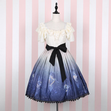 2016 Sweet Short Sleeve Dress Starry Night Printed Women's Dress with Black Bow Knotted Sash