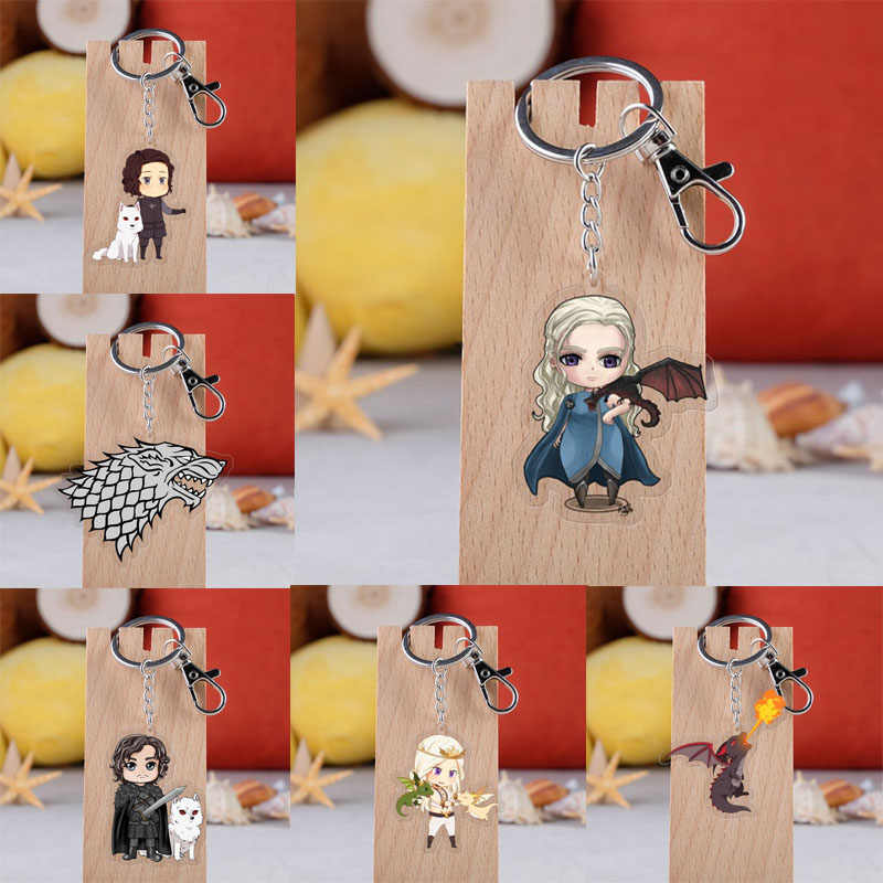 Game of Thrones Jon Snow Dragon Acrylic Keychain Stark Song of Ice and Fire Targaryen Family Pendant Keyring