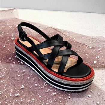 Women's Genuine Leather Sandals 2019 Summer Fashion High Heels Ladies Shoes Platform Sandals For Woman Summer Shoes Sandal