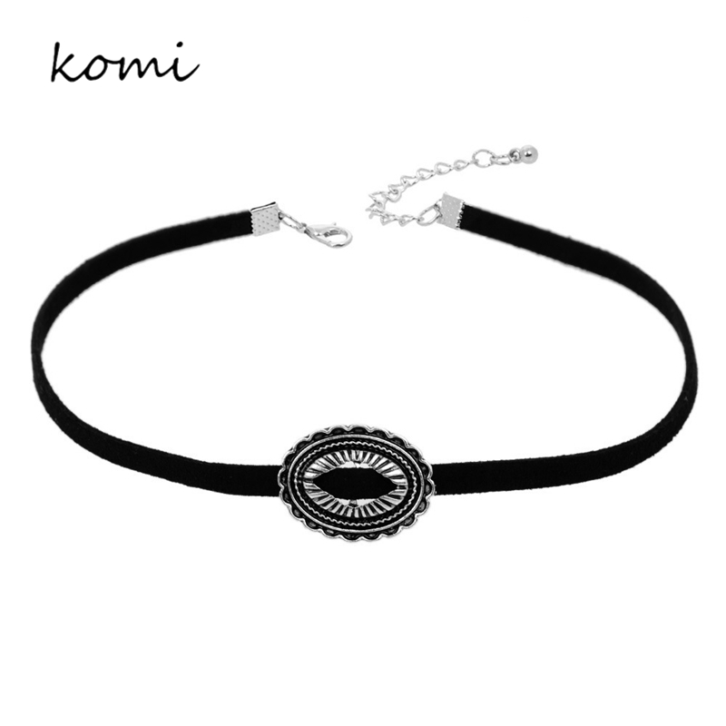 KOMi New Design Harajuku Korea Velvet Belt Necklace Collar Sweater Chain Necklace Women Retro Metal Pattern Collares Mujer O-252