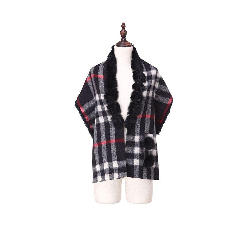 ZY87036 2016 nouveau Design spécial mode femmes automne hiver géométrique écharpe laine avec col de lapin de luxe enveloppes Poncho