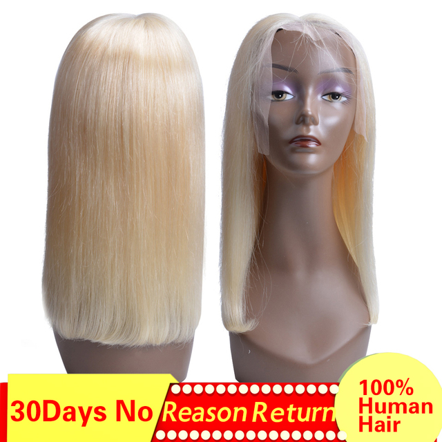 613 Lace Front Human Hair Wigs Straight Short Bob Wigs 150% Density Honey Blonde Remy Full End Lace Wigs Colorful