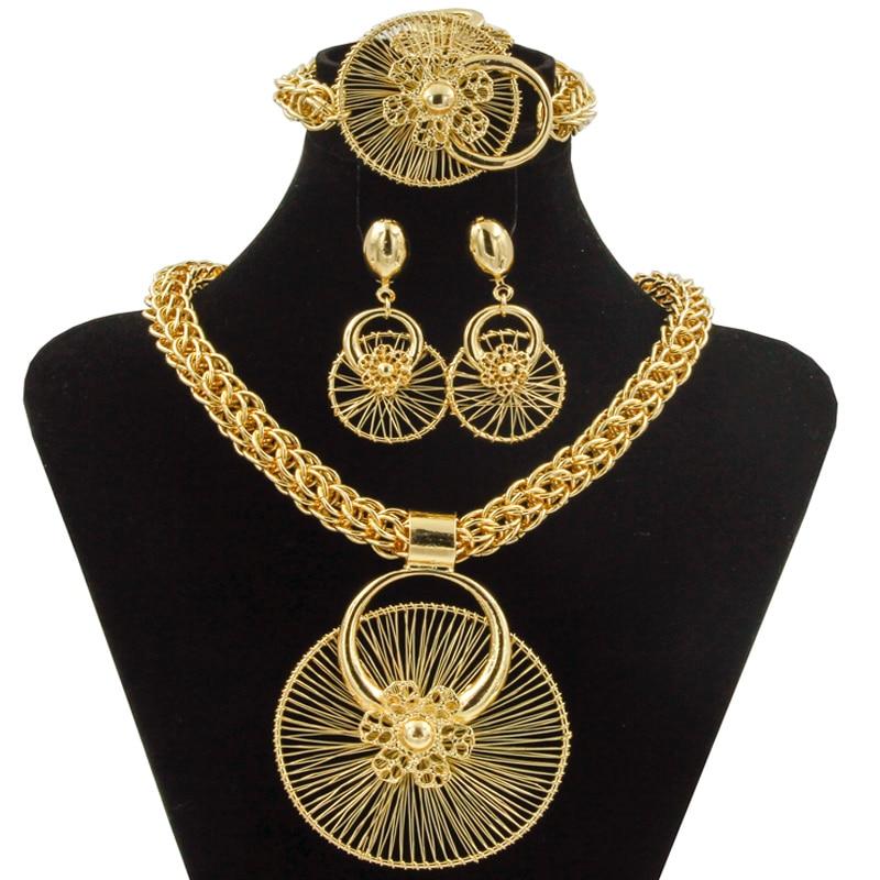 2018 new dubai fashion wedding jewelry unique ferris wheel modeling big necklace bracelet ring