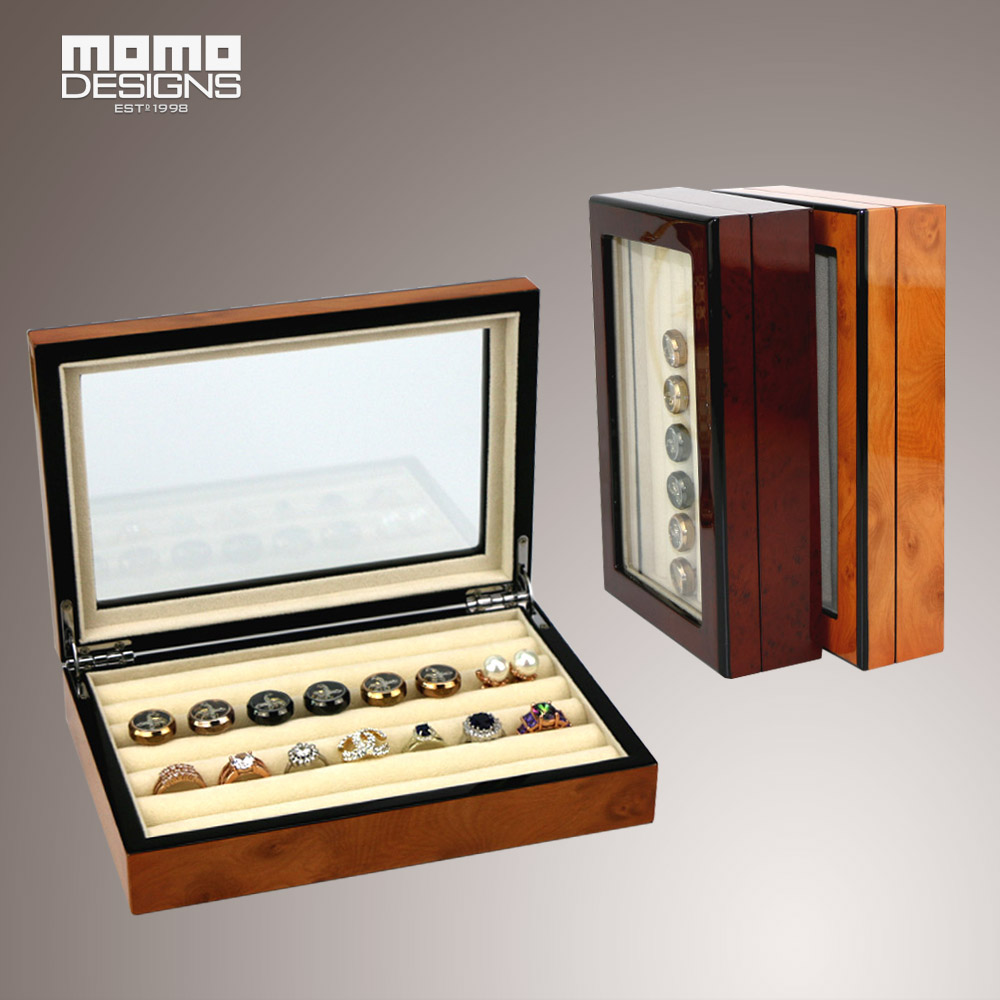 Wooden jewelry box Ring storage case travel boxes Girls gift and Decorative organizing box cufflink box with Piano finish