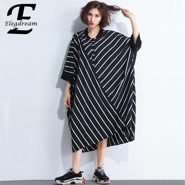 c6f85d3a516 Elegdream Oversized Brand Dress Plus Size Women Batwing Sleeves Shirt  Dresses Lady Casual Loose Striped Top Tunic Female Vestido