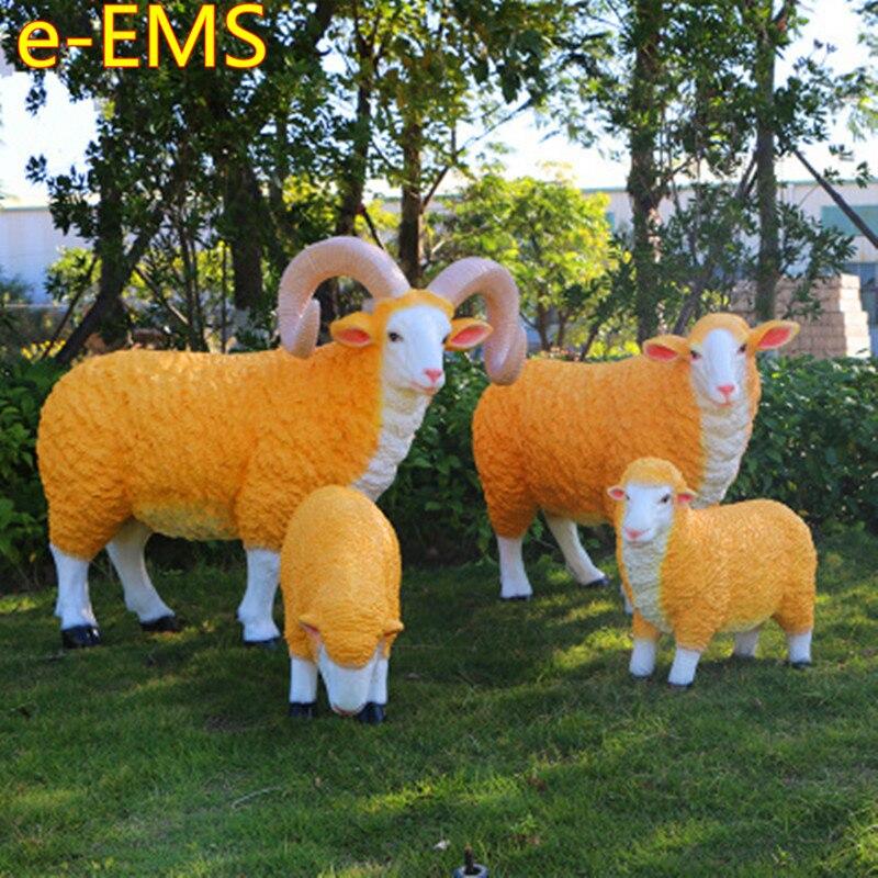 Моделирование Овцы мебель Colophony ремесла цветочные сады ландшафтное украшение животное модель статуя G2318