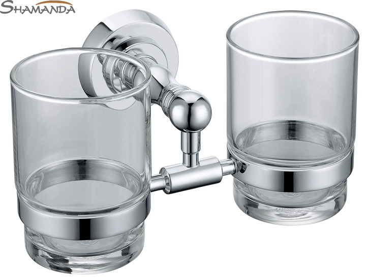 ФОТО Free shipping Solid brass chrome finished double cup holder,toothbrush holder,glass cup holder,cup rack-wholesale-83004