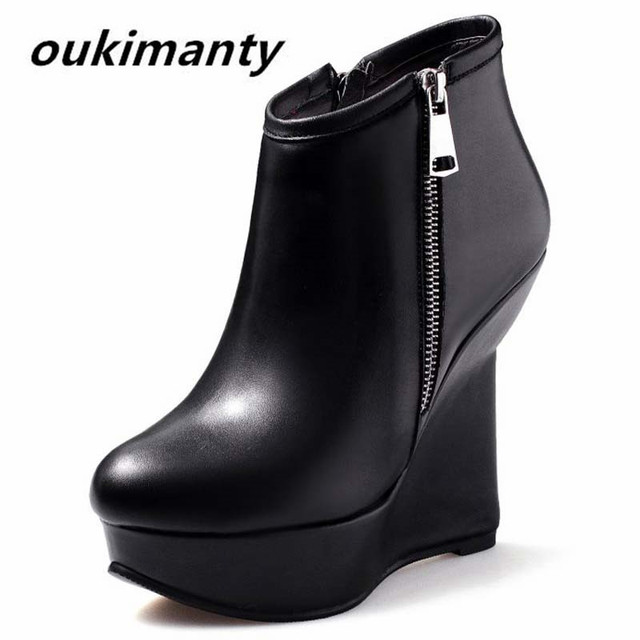 48770dc05 12 см танкетке из натуральной кожи Осенняя женская обувь ботильоны с  кнопками Привлекательные женские ботинки женские