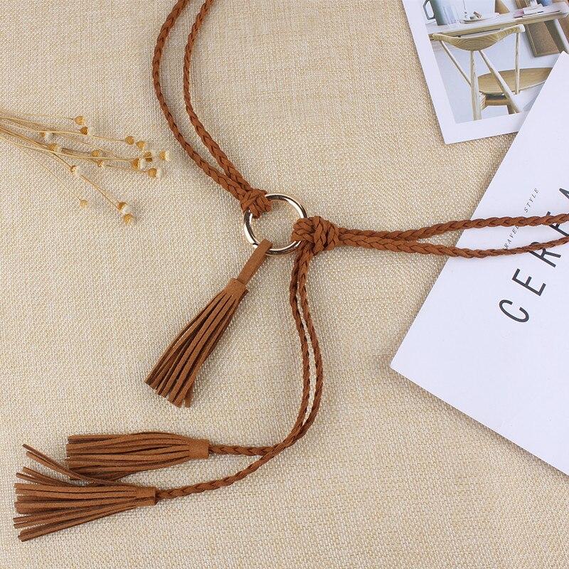 Women Golden Metal Round Buckle Knitted Tassel Braided Waistband Belt Twist Weaving Knot Rope For Dresses Brown Black String