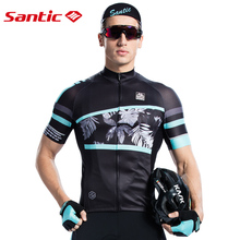 Santic Men Cycling Jersey Short Sleeve Pro Fit Antislip Sleeve Cuff Road Bike MTB Short Sleeve Jersey Summer Asia size M8C02128