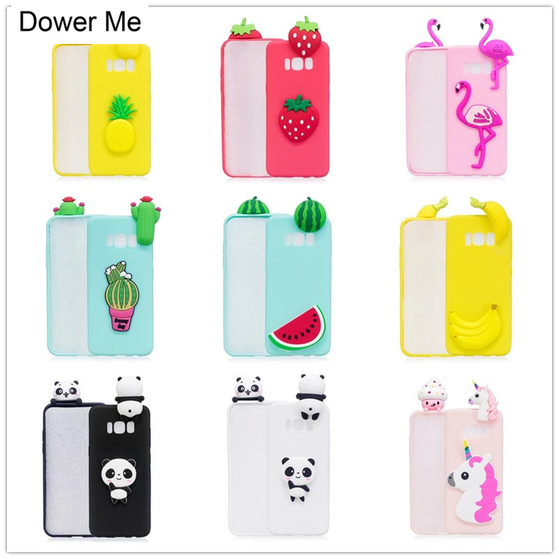 Galleria fotografica Dower Me 3D Cute Cartoon Fruit Flamingos Panda Unicorn Soft Candy Jelly Case Cover For Samsung Galaxy Note 8 S6 S7 Edge S8 Plus