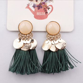 Ethnic Bohemia Women Dangle Drop Earrings Summer Round Resin Tassel for Women Fashion Jewelry 5