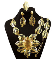 Nigerian Wedding African Jewelry Sets Fashion Dubai Gold Plated Jewelry Sets For Women Costume Design