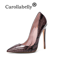 Carollabelly Woman High Heels Gunuine Leather Wedding Shoes Printing Snake Pumps Pointed Toe Sexy Party Shoes