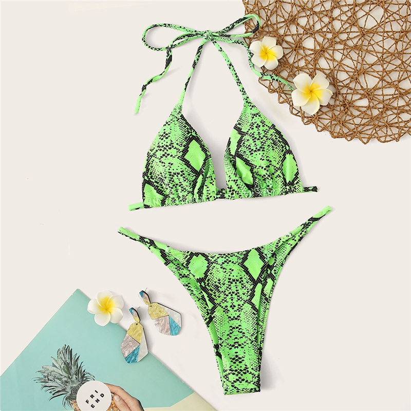 Romwe Sport Bikinis Set Snakeskin Print Halter Top With Low Rise Tanga Bottoms Swimwear Swimsuit Women Summer Knot Sexy Swimwear 11