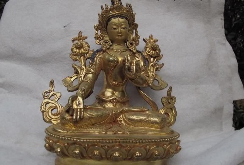 Tibet Buddhsim Pure Copper Bronze 24K Gild White TaRa Goddess Guan Yin BuddhaTibet Buddhsim Pure Copper Bronze 24K Gild White TaRa Goddess Guan Yin Buddha