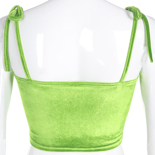 Darlingaga Fluorescent Green Velor Spaghetti Strap Women Summer Belt Ring Knotted Short Top Bralette Open Back Bra Fashion Sexy Cropped Tops