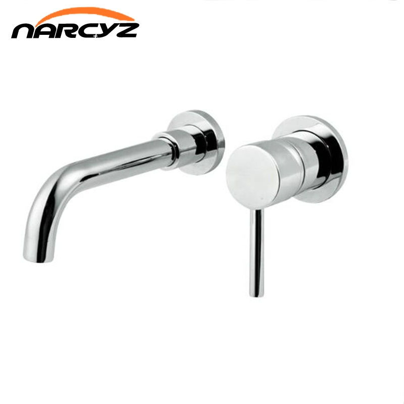 High Quality Round 2 Hole chrome and Black Wall Sink Basin Mixer Tap Bathroom Spout Faucet With Single Lever XR7044 bagnolux factory direct high quality bathroom sink basin mixer tap wels bathroom spout faucet with single lever in chrome black