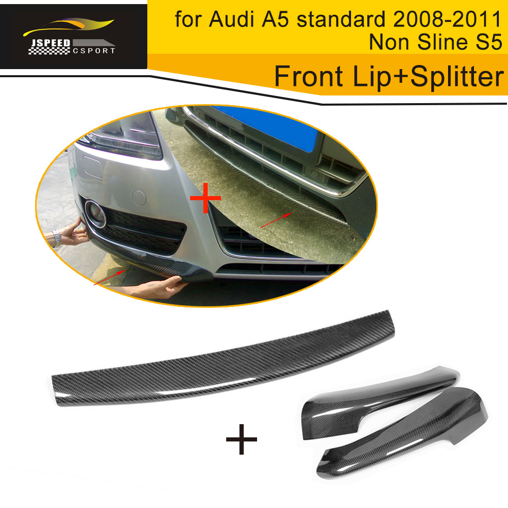 Carbon Fiber Front Bumper Lip Spoiler Wing With Side Diffuser Splitter for Audi A5 standard 2 4 Door 2008-2011 Non Sline S5