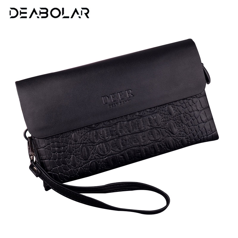 DEABOLAR Brand Male Leather Purse Long Men's Clutch Wallets Handy Bags Business Wallets Men Wristlet Purse with Phone Pocket 2016 famous brand new men business brown black clutch wallets bags male real leather high capacity long wallet purses handy bags