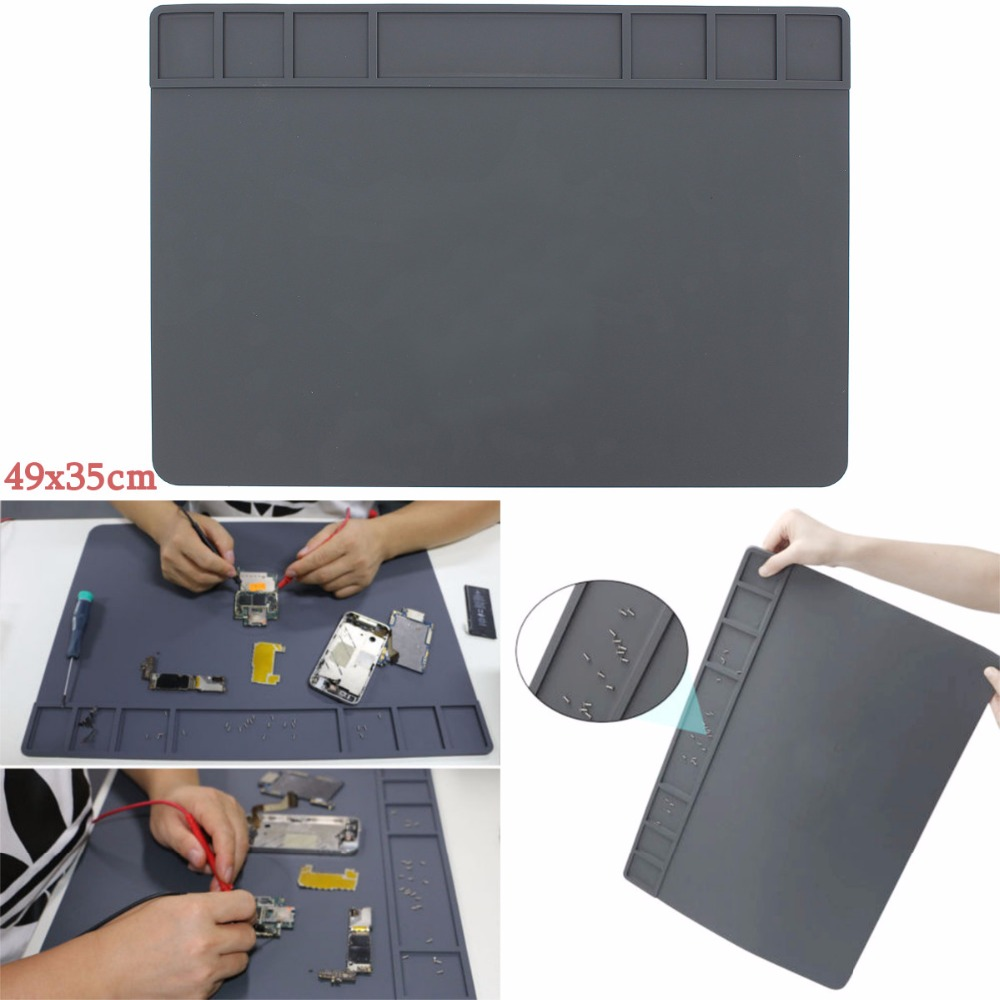 High Quality 49x35cm Magnets Heat Insulation Silicone Pad Soldering Repair Station Platform [randomtext category=