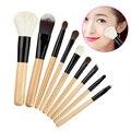 9 unids Set Profesional Lana Herramientas de Maquillaje Cosméticos Sombra de ojos del Labio Cepillo de Base