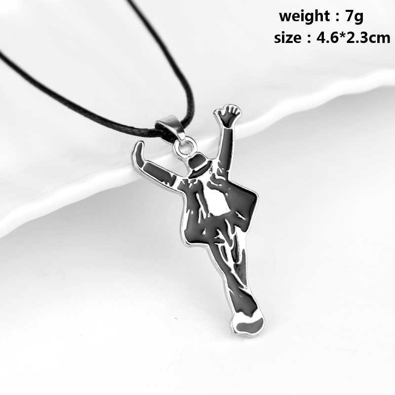 HEYu nowa moda biżuteria naszyjnik Pop Hip Hop gwiazda piosenkarka wisiorek emaliowany Michael Jackson MJ taniec naszyjnik ze stopu