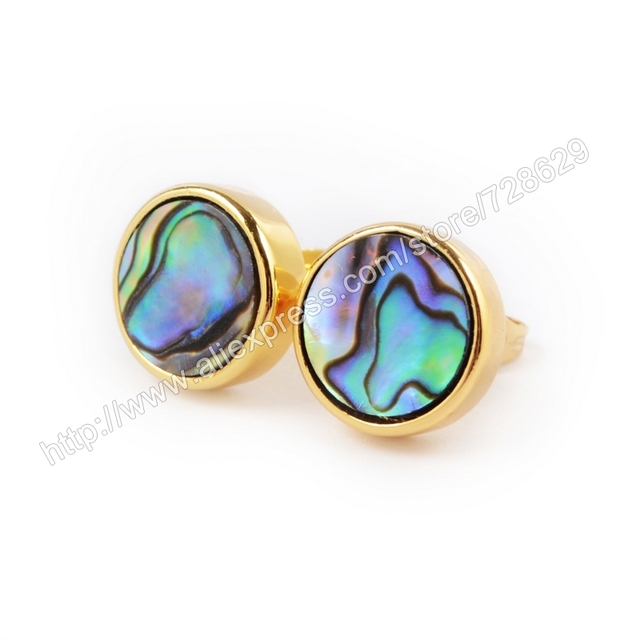 10pair Lot 12mm Gold Color Round Abalone S Stud Earring For Women Zg069