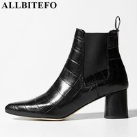 ALLBITEFO Hot Sale Patent Leather Square Toe Thick Heel Ankle Boots Brand Stone Texture Medium Heel