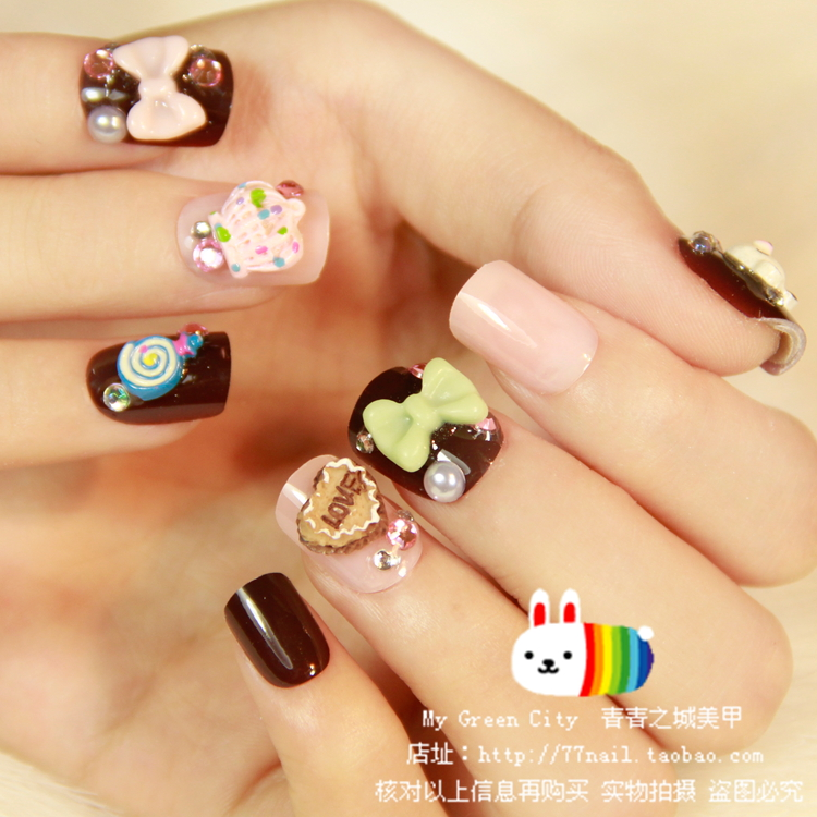Japanese cute bear pattern fake nails Acrylic 3D false nails short ...