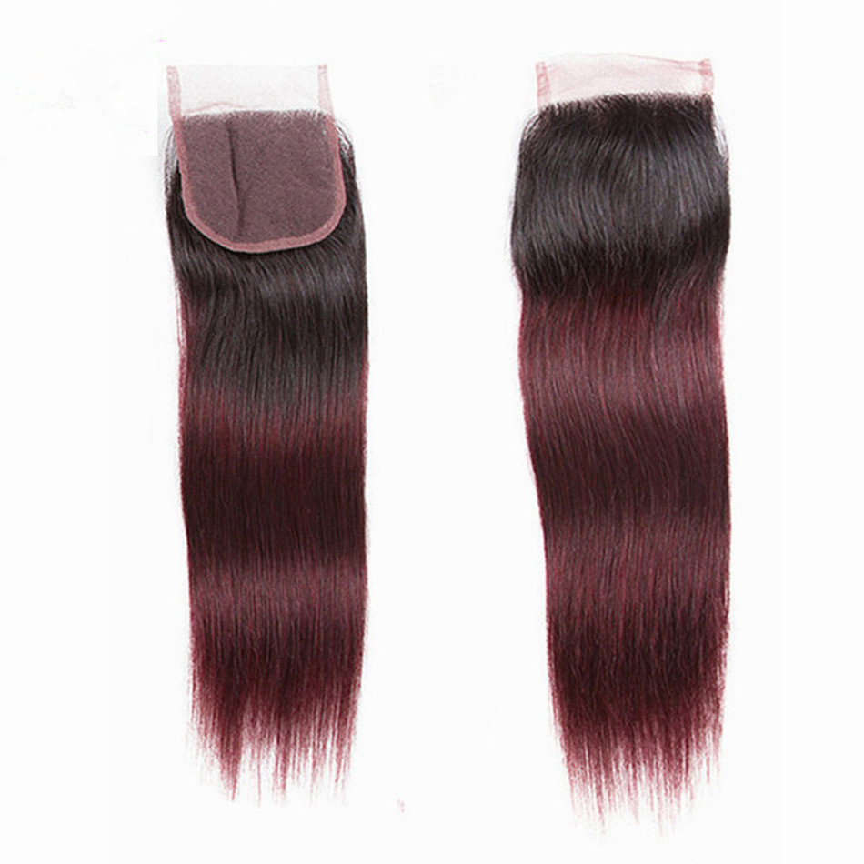 CGG Ombre Closure Hair Straight with Baby 1b99j/Non-remy/Middle-free/Three 4--4 8-20-Lace