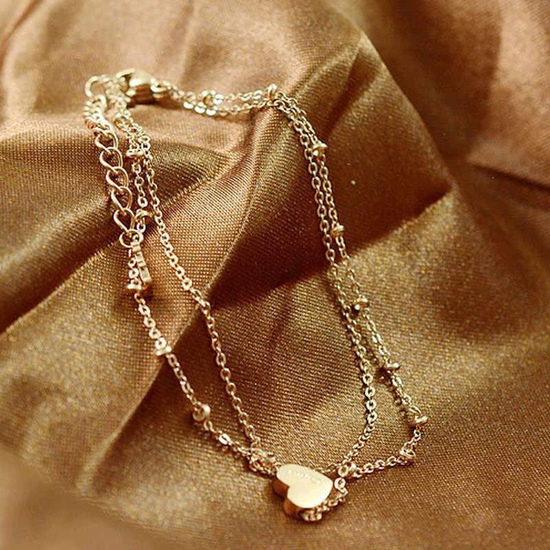 ファッションシックな足二重層チェーンアンクレットゴールデンハートアンクレット足首女性ビーチジュエリー